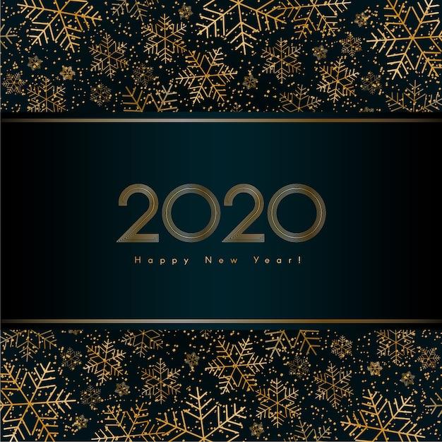 Banner de luxo de ano novo de natal 2020 com glitter ouro floco de neve vector Vetor Premium