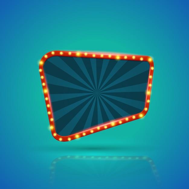 Banner de luz retrô abstrata com lâmpadas no contorno Vetor Premium