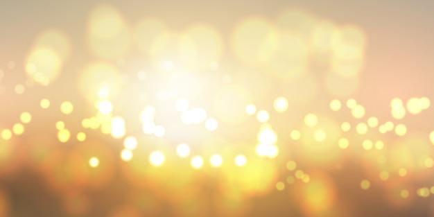 Banner de luzes douradas bokeh Vetor grátis