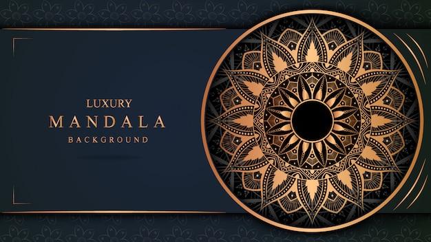 Banner de mandala de luxo com decoração em ouro Vetor Premium