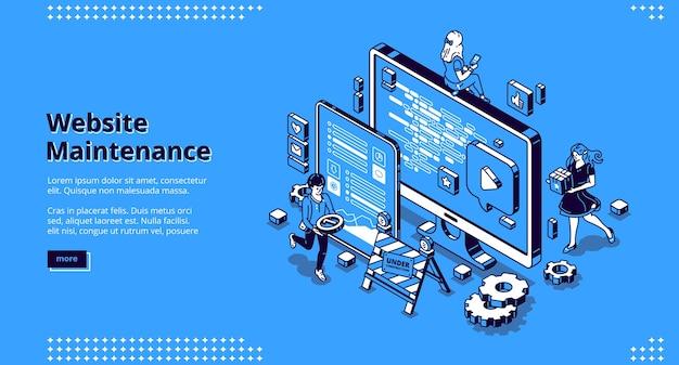 Banner de manutenção do site. conceito de atualização de software de internet, desenvolvimento e gerenciamento de páginas web. Vetor grátis