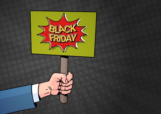 Banner de mão segure cartaz com texto de venda sexta-feira negra Vetor Premium