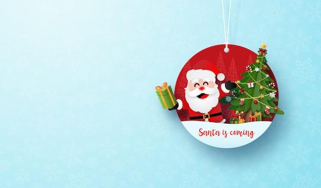Banner de marca de círculo de natal e corda no floco de neve azul Vetor Premium