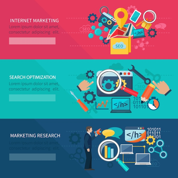 Banner de marketing de seo conjunto com elementos de otimização de pesquisa de internet Vetor grátis