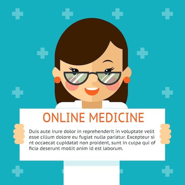Banner de medicina online. médica mostra sinal de texto. saúde e diagnóstico hospitalar. ilustração vetorial Vetor grátis
