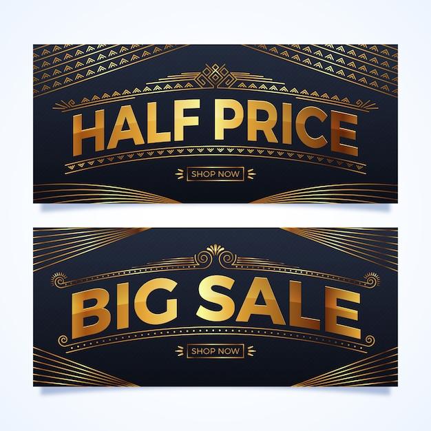 Banner de metade do preço dourado em estilo realista Vetor grátis
