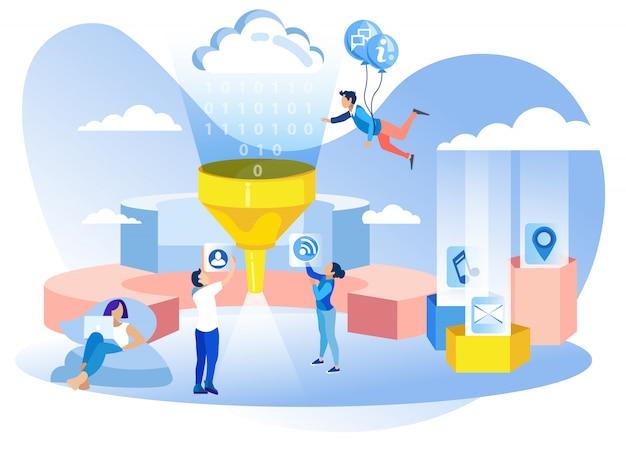 Banner de metáfora de filtro de dados de desenvolvimento de rede Vetor Premium