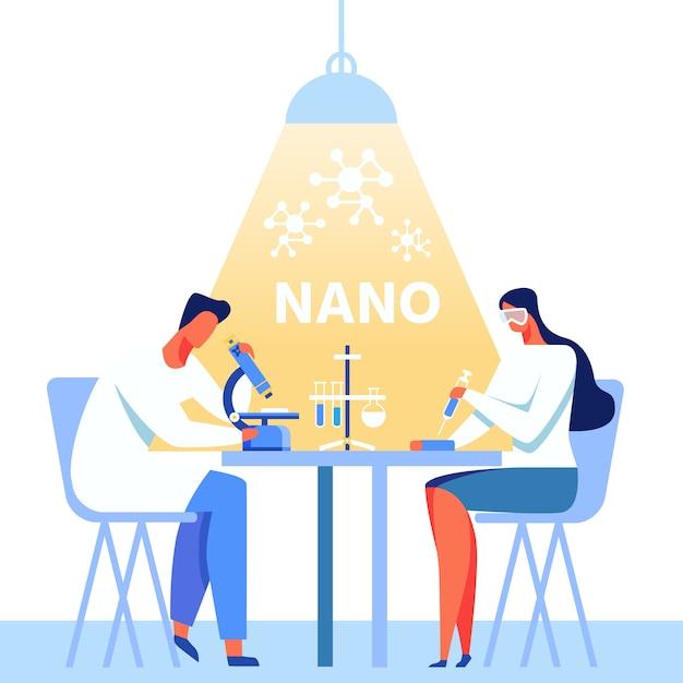 Banner de metáfora de nanotecnologia com equipe de trabalho dos desenhos animados Vetor Premium