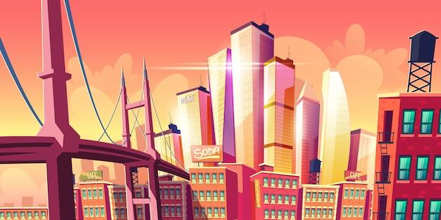 Banner de metrópole de cidade futura crescente Vetor grátis