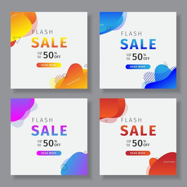 Banner de mídia social com um tema de venda flash Vetor Premium