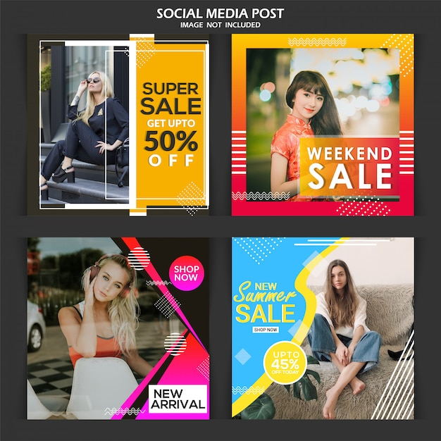 Banner de mídia social de anúncio de moda Vetor Premium