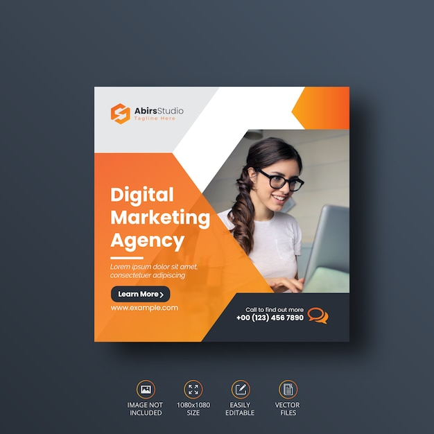 Banner de mídia social de marketing digital de negócios ou modelo de folheto quadrado Vetor Premium