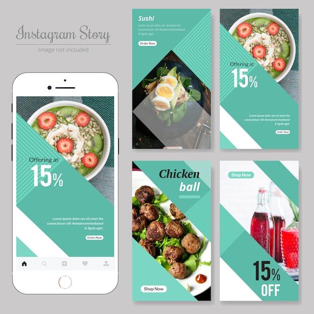 Banner de mídia social de restaurante de comida Vetor Premium