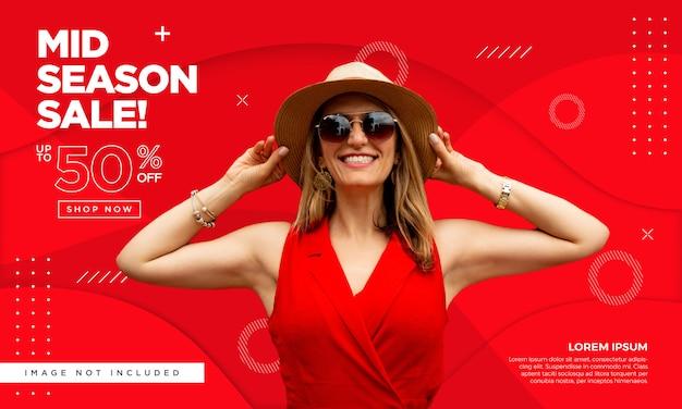Banner de moda promocional Vetor Premium