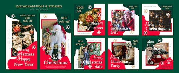 Banner de modelo de anúncio de mídia social de natal para histórias e pós-promoção. Vetor Premium