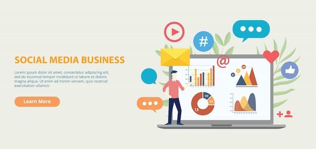 Banner de modelo de site de ícone de negócios de mídia social Vetor Premium