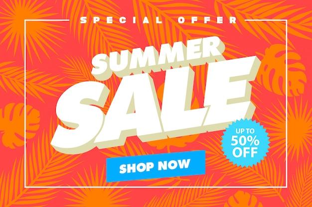 Banner de modelo de venda de verão Vetor Premium