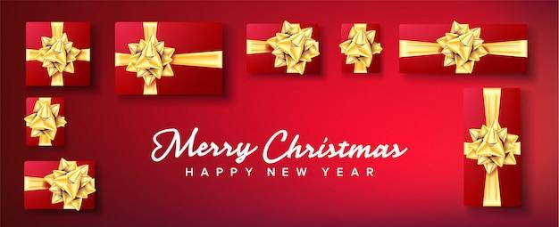 Banner de natal. caixa de presentes com laço de ouro Vetor Premium
