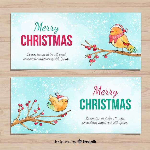 Banner de natal com pássaros em aquarela Vetor grátis