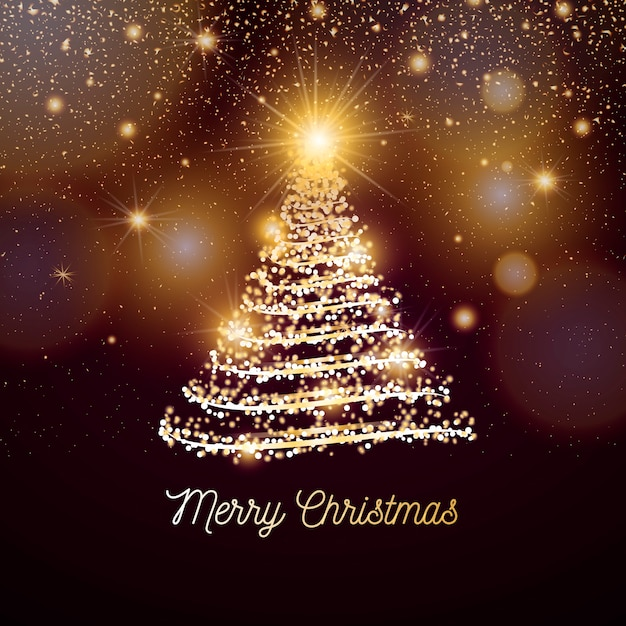 Banner de natal elegante com luzes douradas Vetor grátis