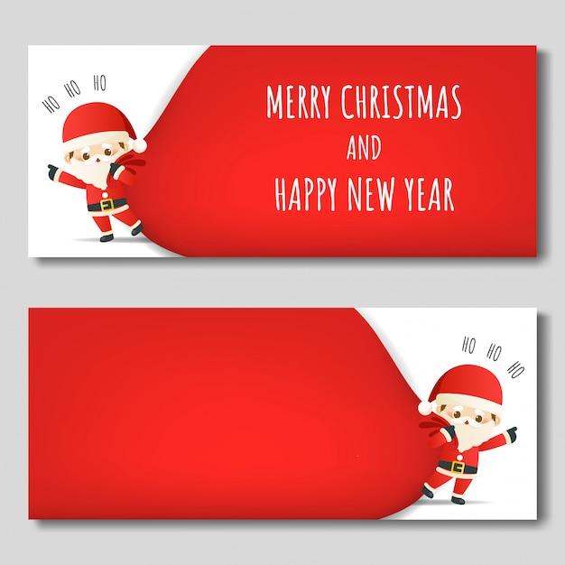Banner de natal feliz Vetor Premium