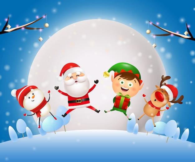 Banner de noite de natal com papai noel, animais no chão azul Vetor grátis