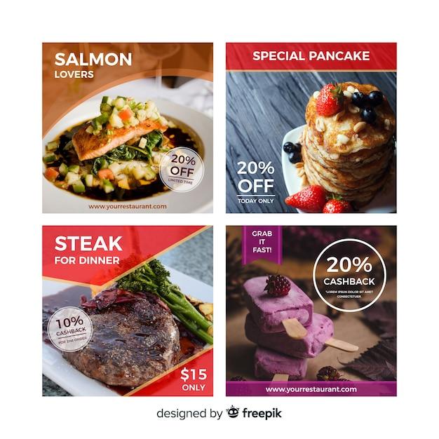 Banner de oferta de comida fotográfica Vetor grátis