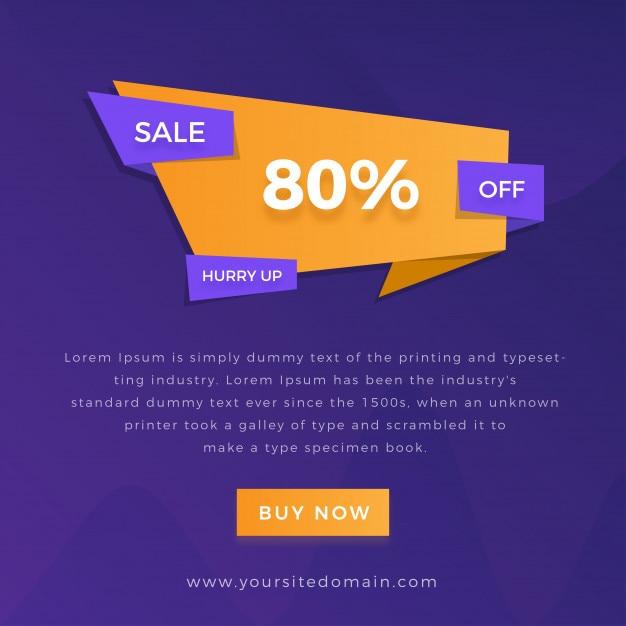 Banner de oferta de venda com fundo gradiente multicolor Vetor Premium
