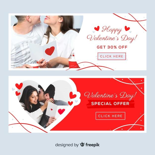 Banner de oferta especial de dia dos namorados com casal apaixonado Vetor Premium