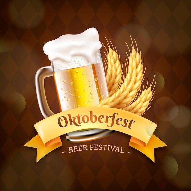 Banner de oktoberfest realista com caneca de cerveja Vetor grátis