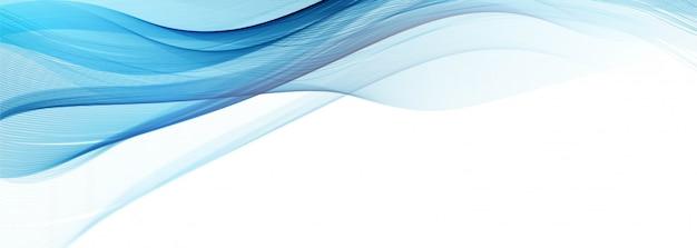 Banner de onda azul fluindo moderno sobre fundo branco Vetor grátis