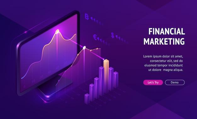 Banner de página de destino isométrica de marketing financeiro Vetor grátis
