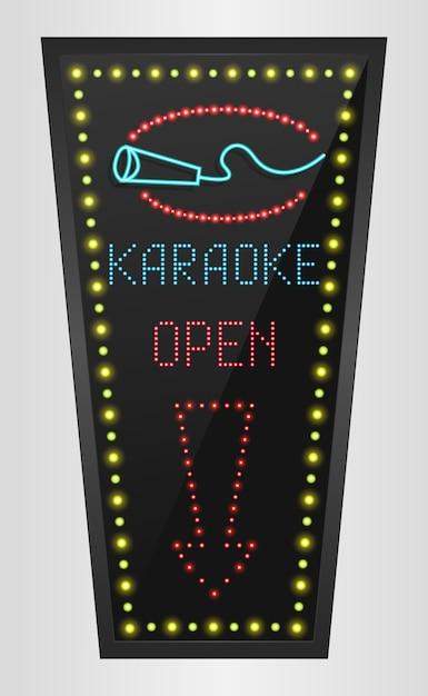 Banner de painel de luz led brilhante com sinal de karaoke Vetor Premium