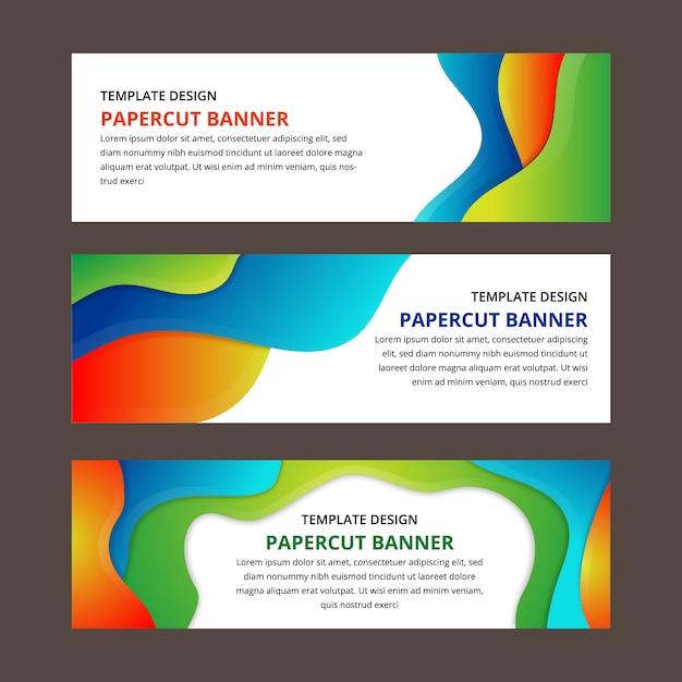 Banner de papel cortado textura para capa de brochura Vetor Premium