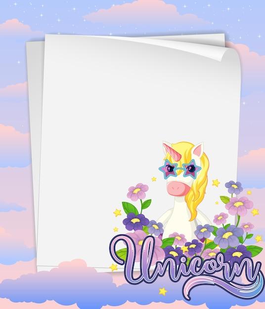 Banner de papel em branco com o lindo unicórnio no fundo do céu pastel Vetor grátis