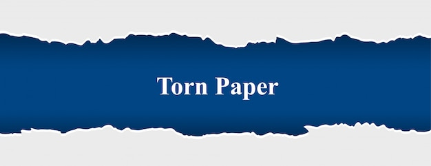 Banner de papel rasgado e rasgado nas cores branca e azul Vetor grátis