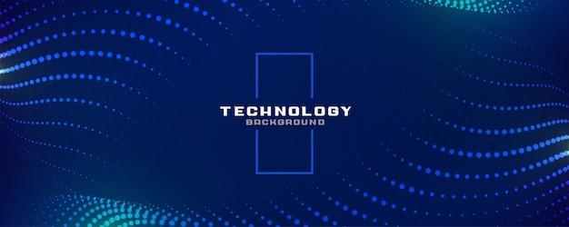 Banner de partículas brilhantes azuis de tecnologia digital Vetor grátis