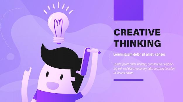 Banner de pensamento criativo Vetor Premium