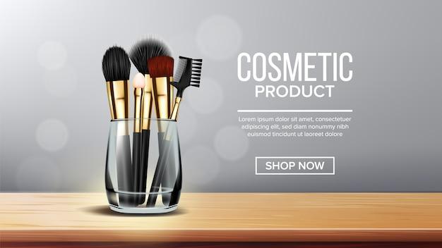 Banner de pincel de maquiagem Vetor Premium