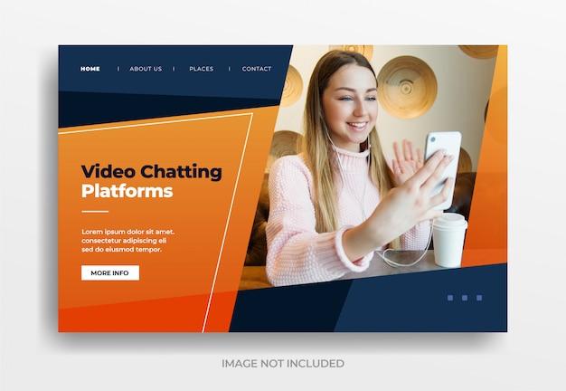 Banner de plataformas de bate-papo por vídeo Vetor Premium