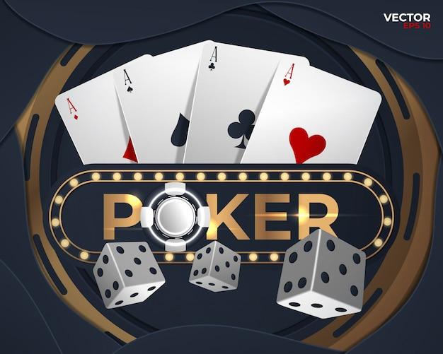 Banner de poker com quatro ases e um verso várias cartas de baralho Vetor Premium