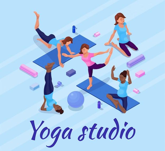 Banner de pose de ioga com mulher fazendo exercícios de aptidão física Vetor Premium