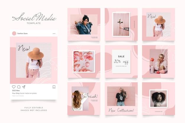 Banner de postagem de mídia social para promoção de venda de moda. Vetor Premium
