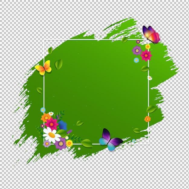 Banner de primavera com flor isolada com malha gradiente, ilustração Vetor Premium