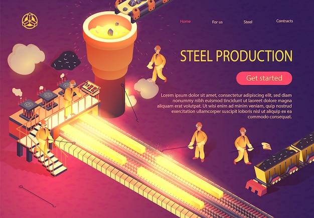 Banner de produção de aço com processo de metalurgia Vetor Premium