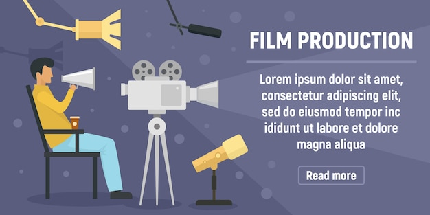 Banner de produção de filme, estilo simples Vetor Premium