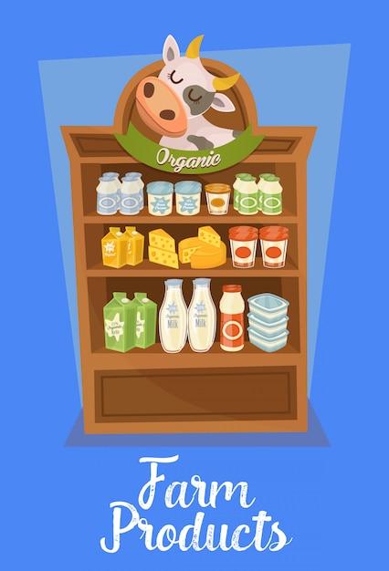 Banner de produtos agrícolas com prateleiras dos supermercados Vetor Premium