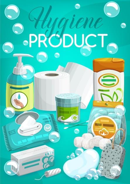 Banner de produtos de higiene pessoal e produtos de higiene pessoal. Vetor Premium