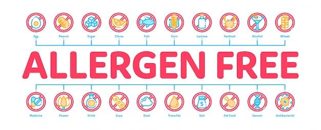 Banner de produtos sem alérgenos Vetor Premium