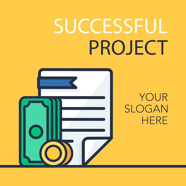 Banner de projeto de sucesso Vetor Premium